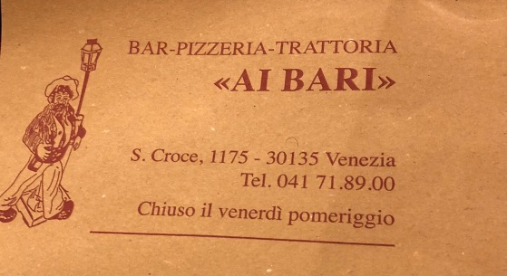 Venice-pizza and tarimisu menu